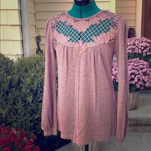 Pretty pink longsleeved blouse small